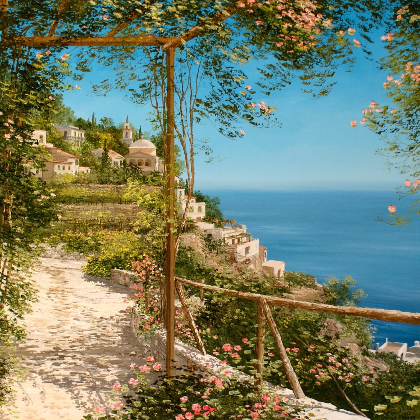 Artist: Liliana Frasca Title: Amalfi Coast Size: 40in x 40in Framed: Yes Medium: Oil on Canvas