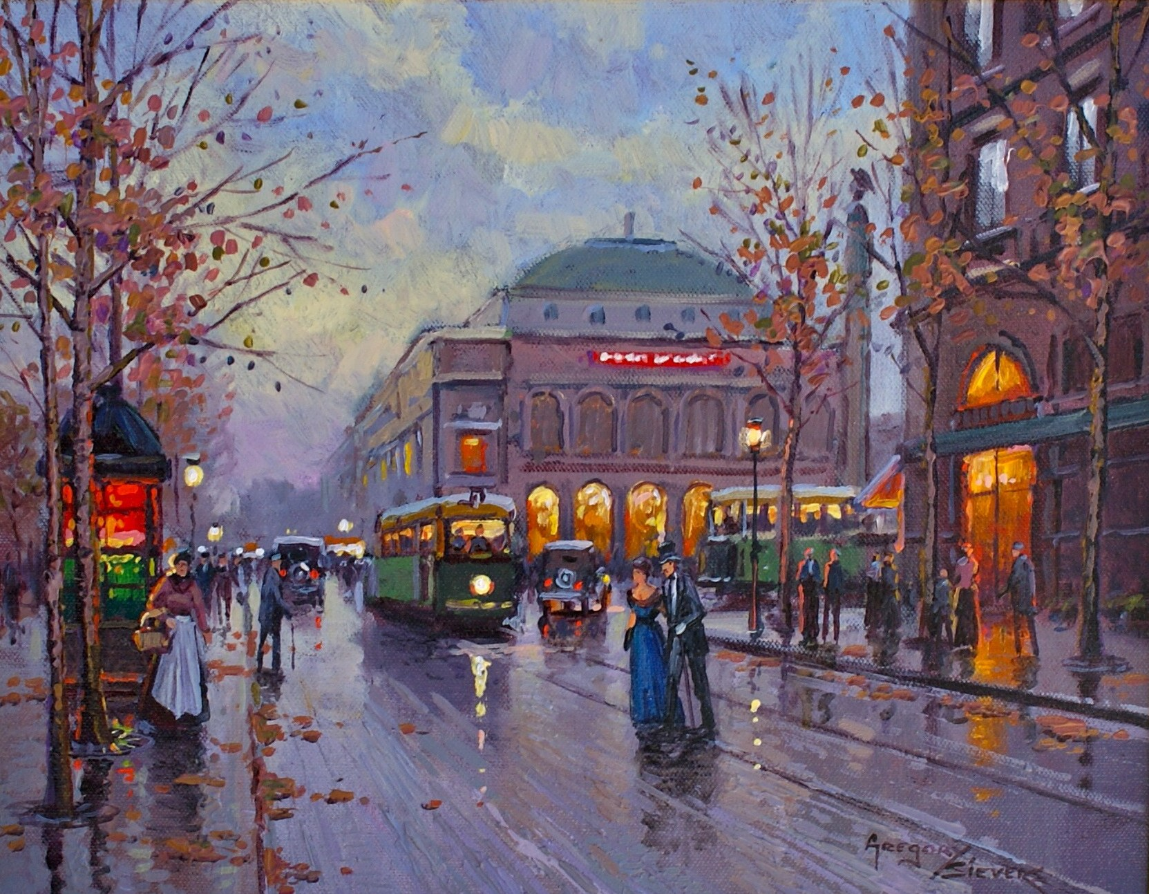 Artist: Gregory Seivers Title: Rue de Paris Size: 11in x 14in Framed: Yes Medium: Oil on canvas
