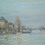 Artist: Jean Rigaud Title: Pont Des Arts Size: 15in x 21in