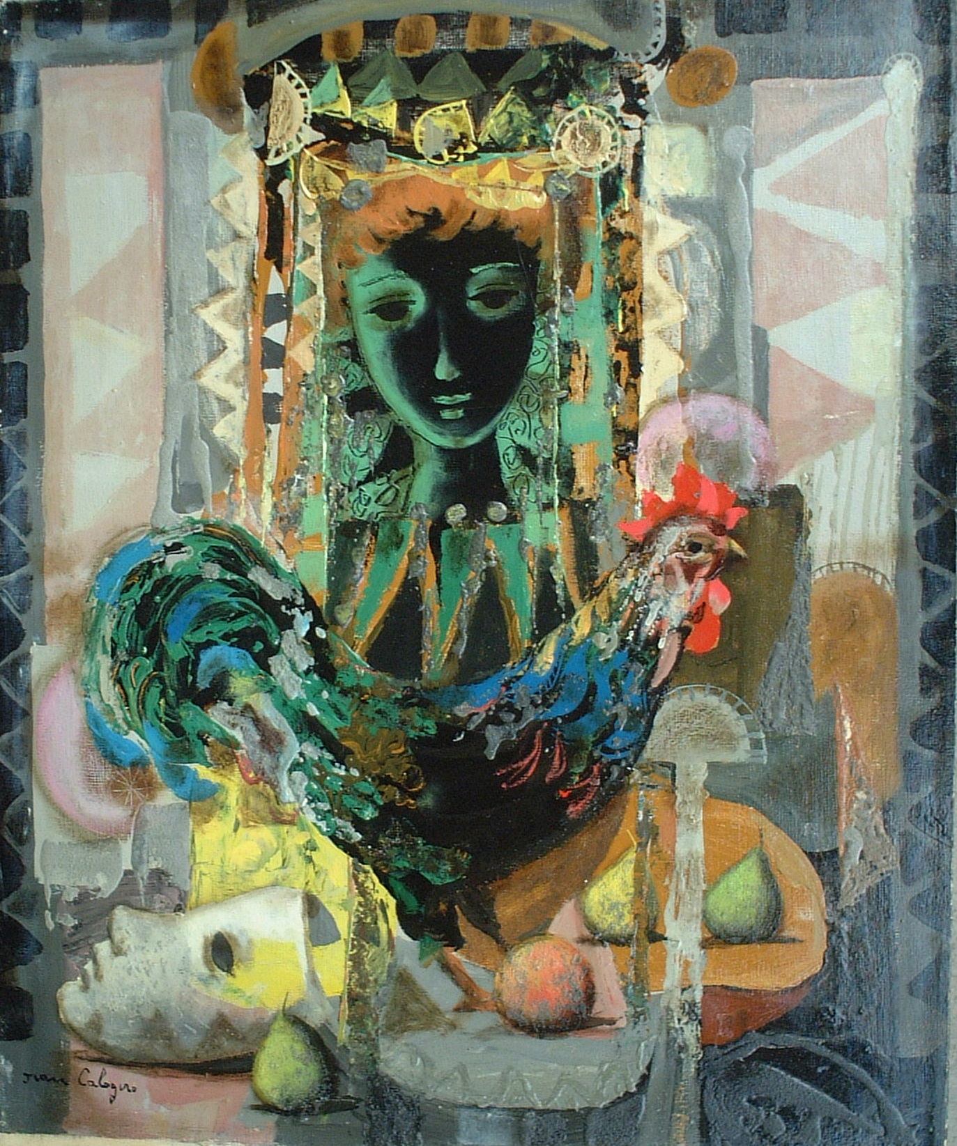 Artist: J. Calogero Title: Rooster and Mask Size: 21.5in x 18in Framed: No