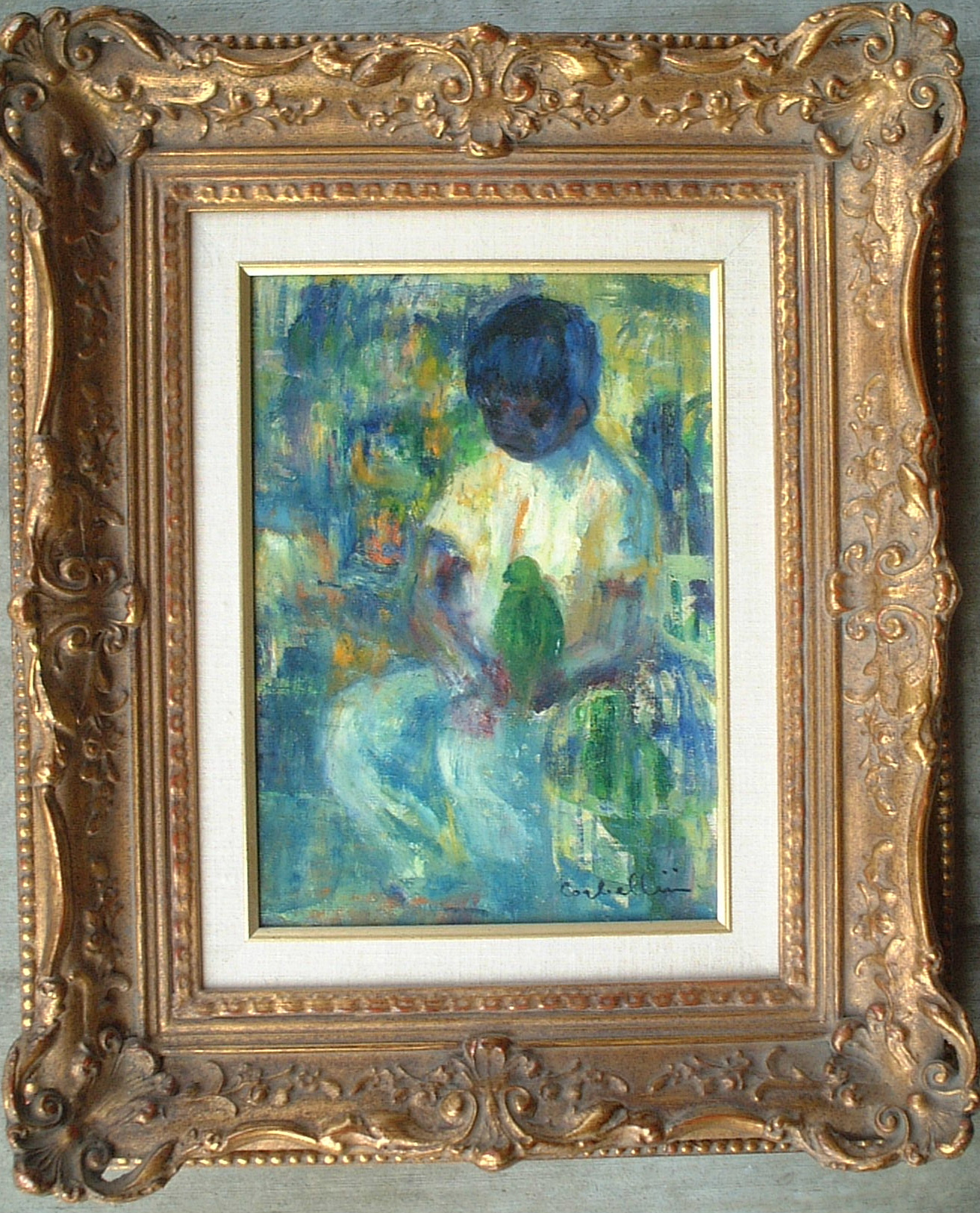 Artist: Luigi Corbellini Title: Boy and Bird Size: 10.5in x 7.5in Framed: Yes