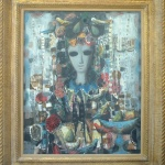 Artist: J. Calogero Title: Still Life with Birds Size: 23.5in x 28in Framed: Yes Medium: Oil on Canvas