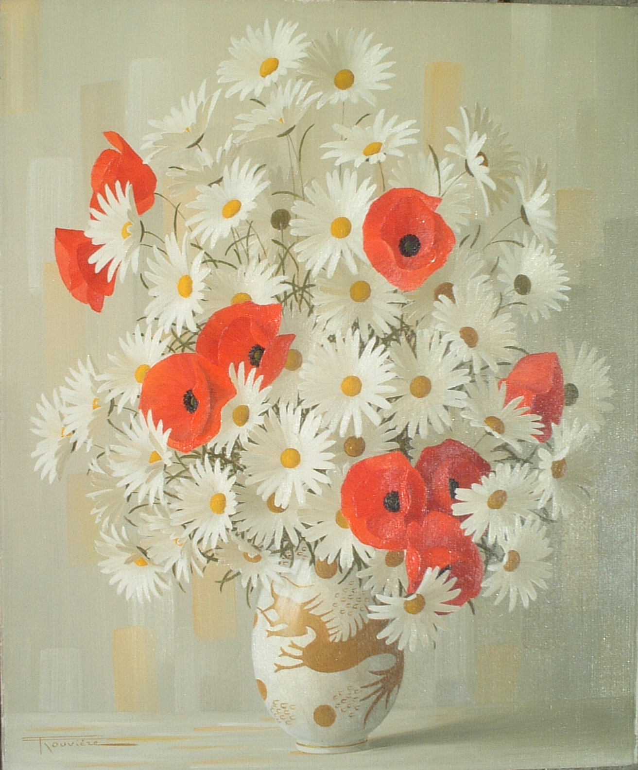 Artist: Elisabete Rouviere Title: Daisies and Poppies Size: 20in x 24in Framed: No Medium: Oil on Canvas