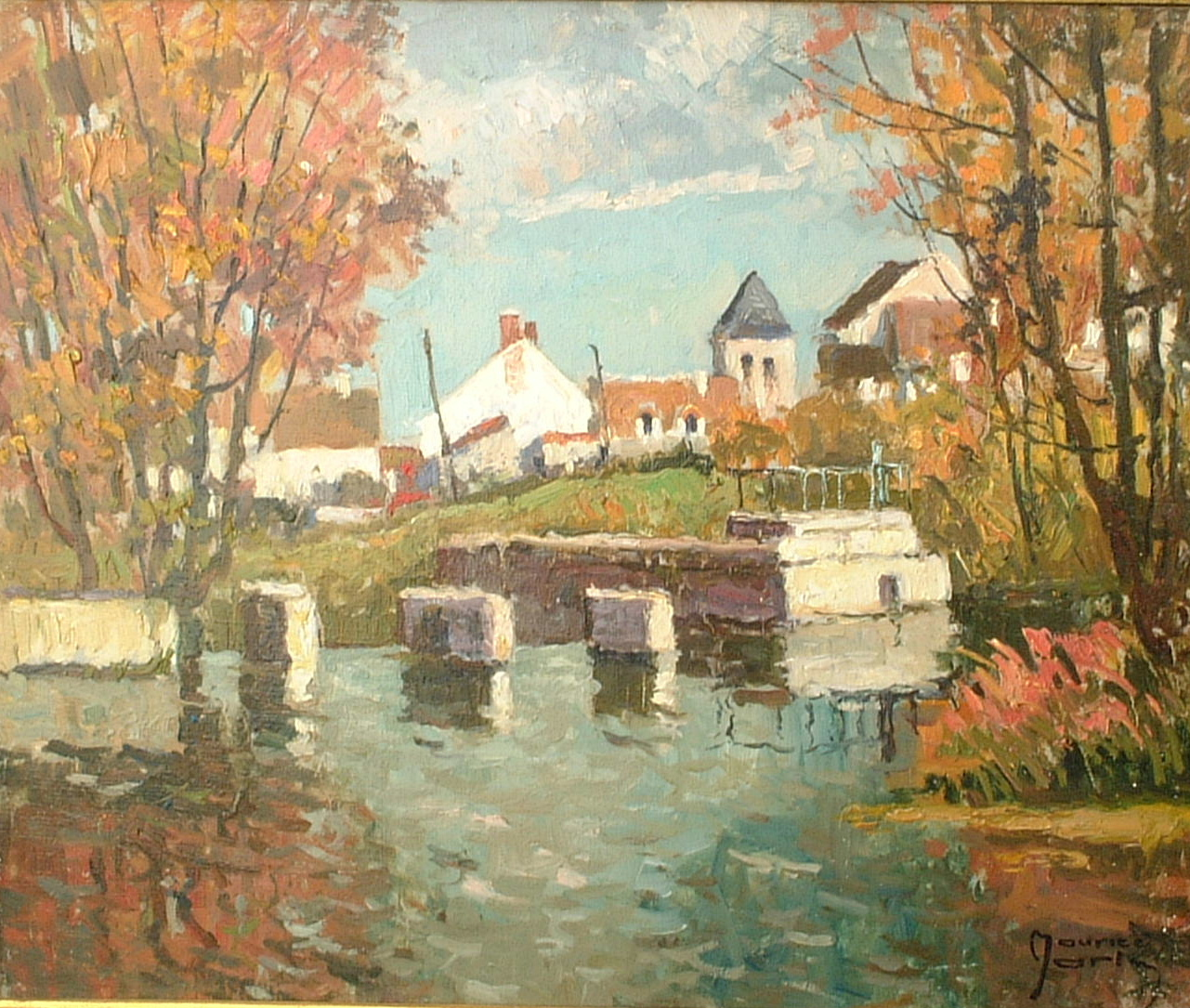 Artist: Maurice Martin Title: Canal at Episy Size: 21in x 25in