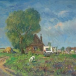 Artist: Gera Gyula Hungarian Title: The Farm House Size: 23.5 x 31.5 Framed: No Medium: Oil on Canvas