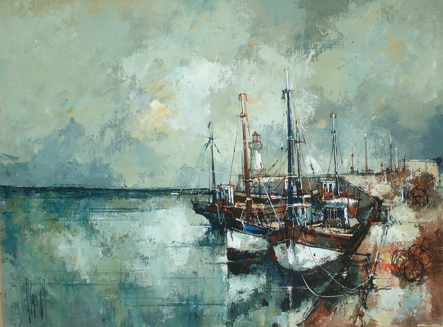 Artist: Aldo Title: Fishing Boats at Rest Size: 23.5in x 31.5in Framed: No Medium: Oil on Canvas