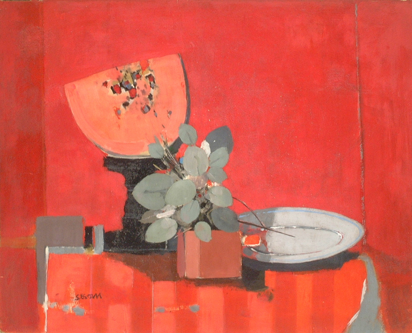 Artist: Andres Segovia Title: Still Life with Watermelon Size: 25.25in x 31.75in Medium: Oil on Board