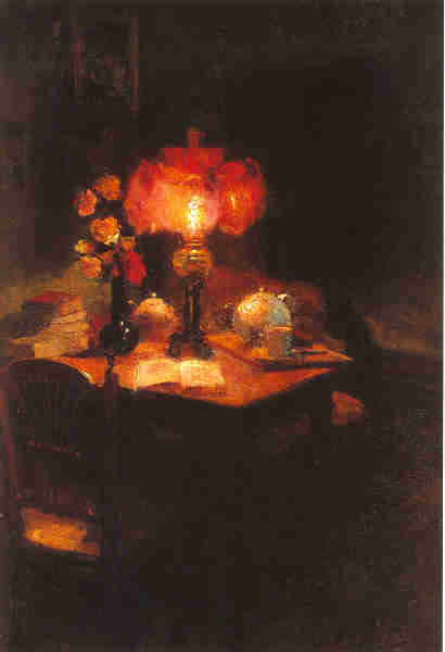 Artist: Edouard Cortes Title: Still Life with Lamp  Size: 21.5 x 15in Oil on Canvas Framed: Yes Signed: Yes