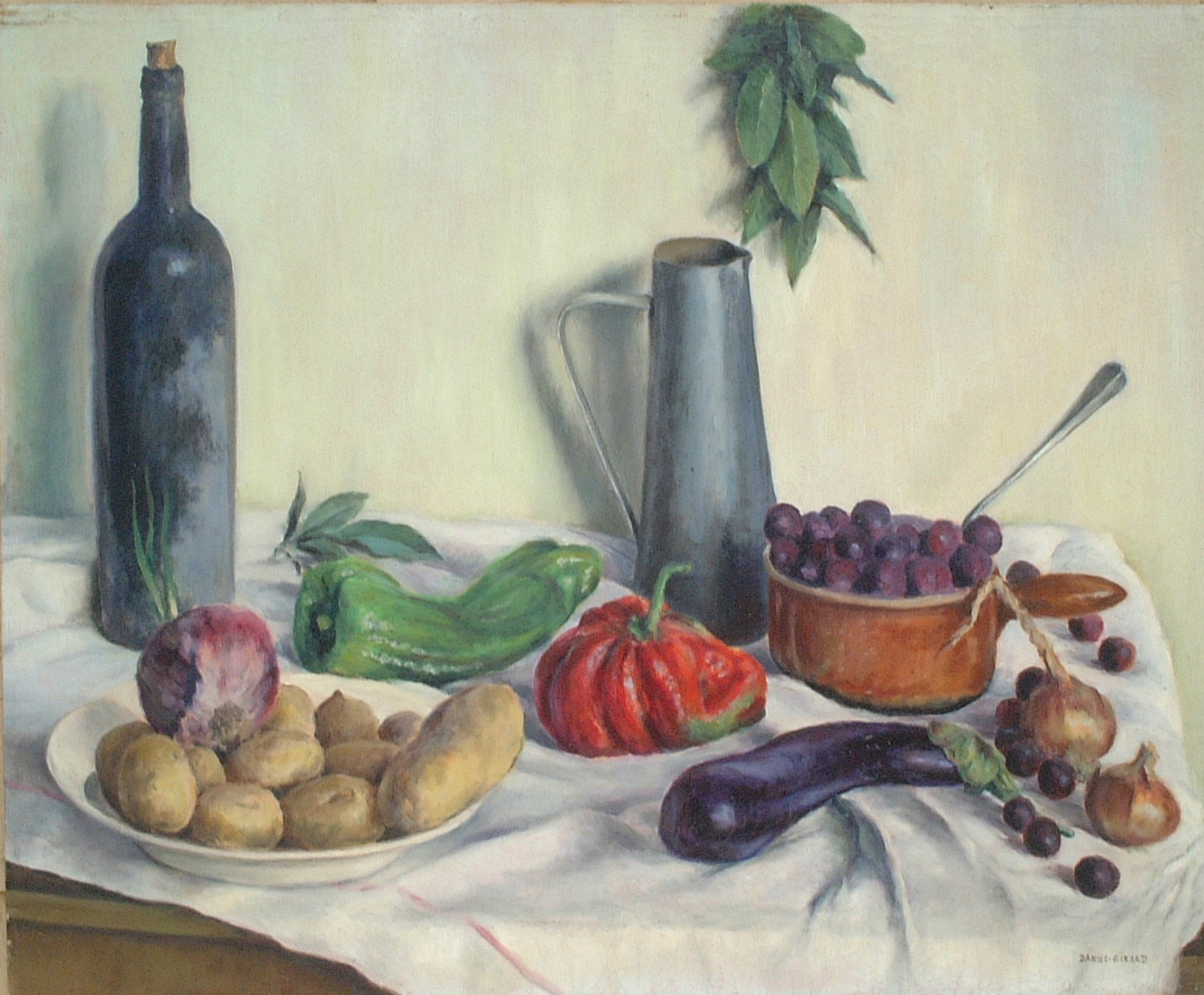 Artist: Daniel Gerard Title: Autumn Still Life Size: 23.5in x 28.5in Framed: Unframed Medium: Oil on Canvas