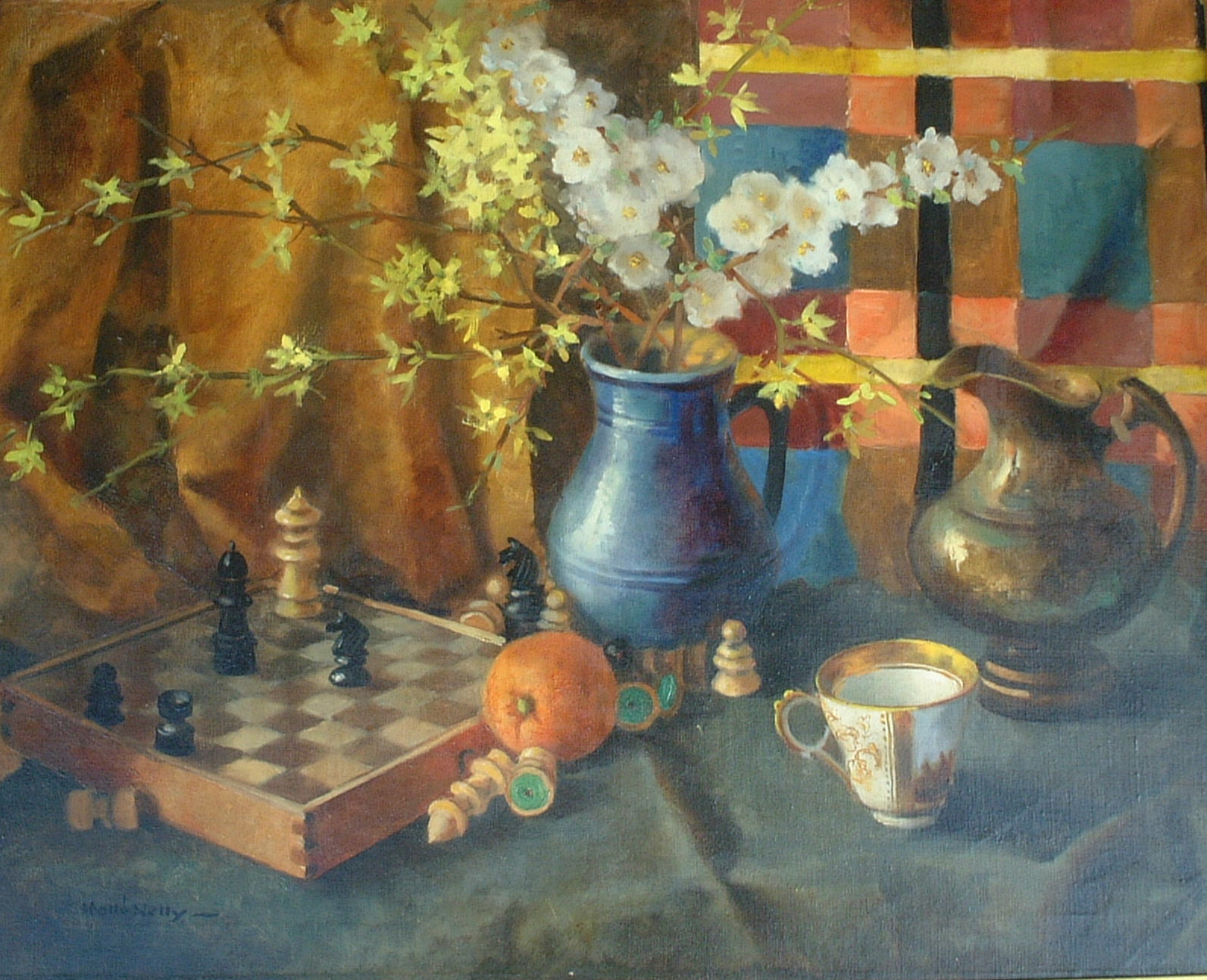Artist: Hollo Nelly Title: Forsythia and Chess Size: 24in x 30in Framed: No
