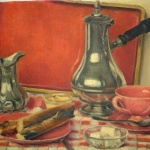 Artist: Daniel Girard Title: The Red Tray Size: 10in x 14in Signed: Yes